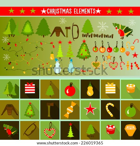 Christmas elements. Vector. - stock vector