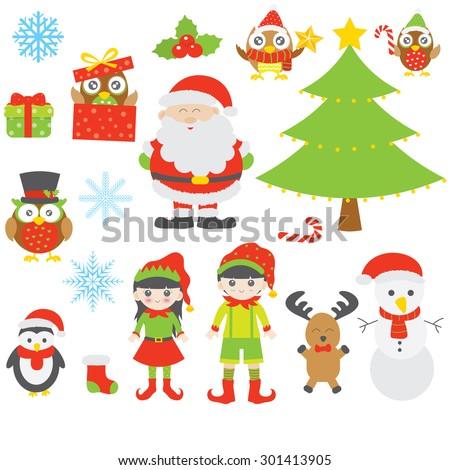 Christmas elements vector - stock vector