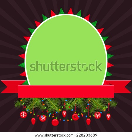 Christmas elements with green empty banner and red ribbon - stock vector
