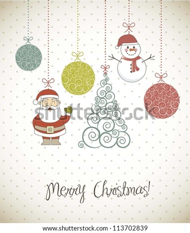 christmas elements with santa, snowman and tree. vector illustration - stock vector