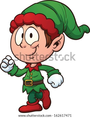 Christmas elf clip art. Vector cartoon illustration with simple gradients. All in a single layer.