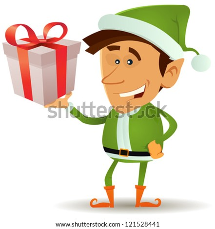 Christmas Elf Holding Gift/ Illustration of a funny happy cartoon christmas elf or leprechaun character smiling and holding santa claus present in his hand - stock vector