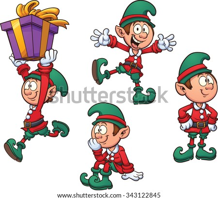 Christmas elf in different positions. Vector clip art illustration with simple gradients. Each on a separate layer. - stock vector