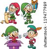 Christmas elves. Vector clip art illustration with simple gradients. All in a single layer. - stock vector