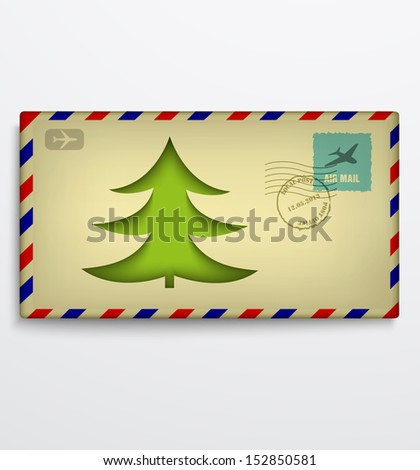 Christmas envelope with Christmas tree - stock vector