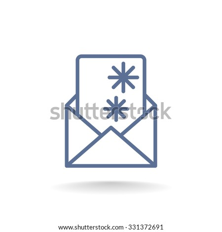 Christmas envelope with paper card icon. - stock vector