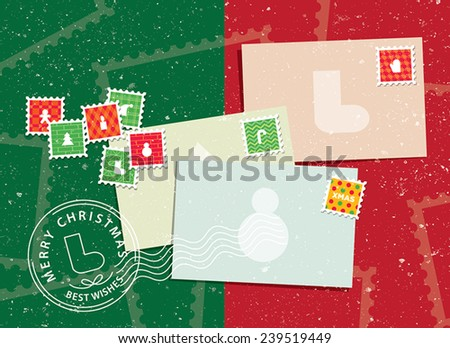 Christmas envelopes and stamps - stock vector