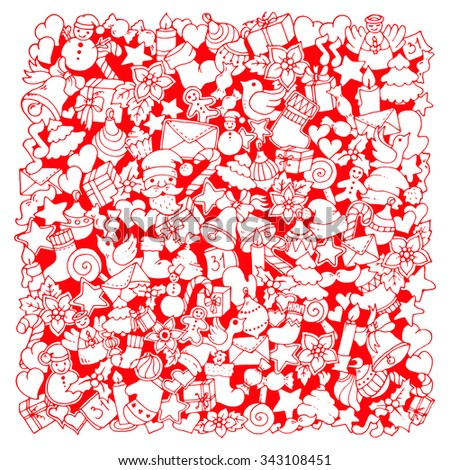 Christmas ethnic red pattern. Doodle background with balloon, bells, sweets, Christmas socks, gift, mittens, envelope, letter, tree, star, candle, bird, snowman, ball, bow, heart and Santa Claus.  - stock vector