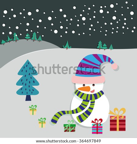 Christmas Eve Landscape with Snowman and Xmas Tree Greeting Card. Winter Scenery. Winter Holidays Kids Book illustration. Digital background vector Banner. - stock vector