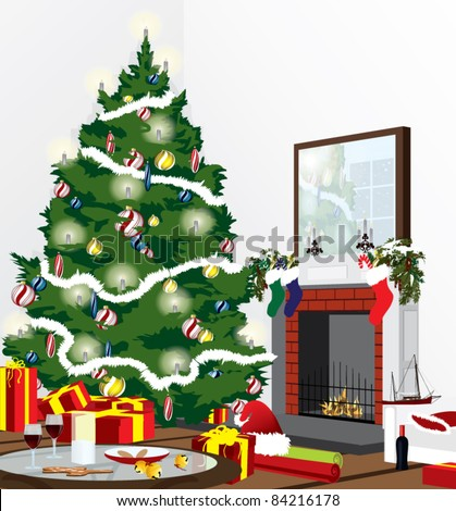 christmas eve scene in a living room - stock vector