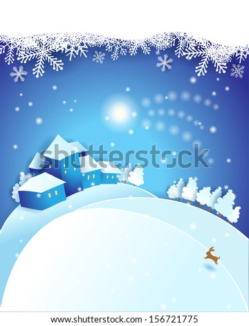 Christmas Eve, vector. Illustration with copy space