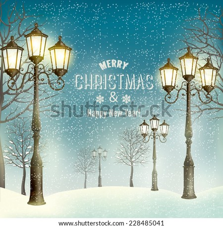 Christmas evening landscape with vintage lampposts. Vector. - stock vector