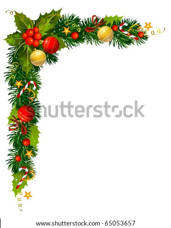 Christmas evergreen branches in the corner of the paper - stock vector