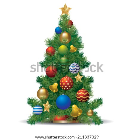 Christmas evergreen spruce tree and glass balls. Vector illustration - stock vector