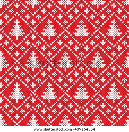 Christmas Fairisle Sweater Seamless Knitting Pattern Stock Vector ...