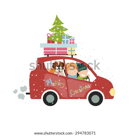 Christmas Car Stock Royalty Free & Vectors #2: stock vector christmas family trip by car vector isolated illustration
