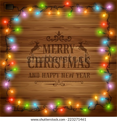 Christmas festive background with glowing electric garland - stock vector