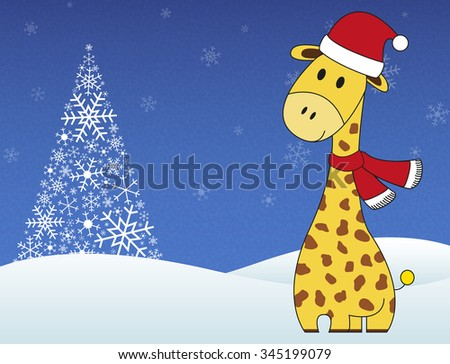 Christmas festive giraffe on winter snowing background with tree made of snowflakes - stock vector