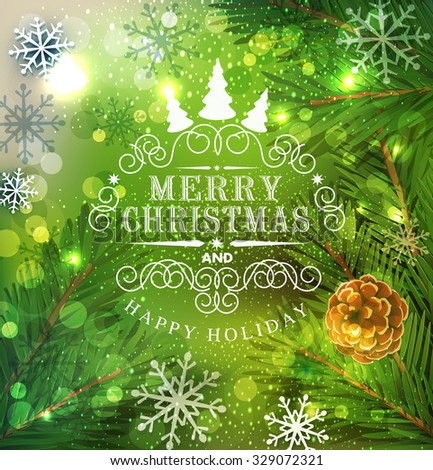 Christmas festive vector background with Christmas tree and snowflakes - stock vector