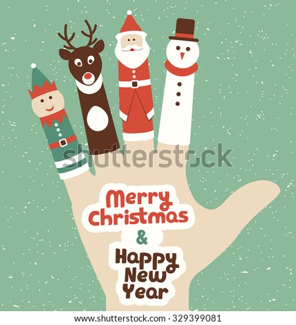 Christmas Finger Puppets on a hand - Retro Style Christmas Illustration - Greeting Card Design - stock vector