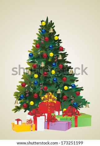 Christmas fir tree and gifts - stock vector