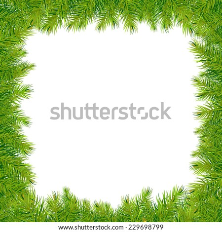 Christmas Fir Tree Frame, Vector Illustration - stock vector