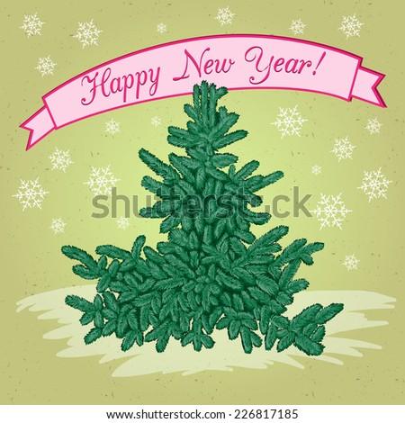 Christmas fir tree. New year greeting card. - stock vector