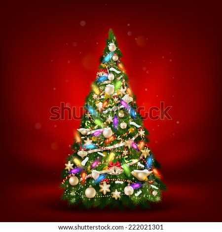 Christmas fir tree on red. EPS 10 vector file included - stock vector