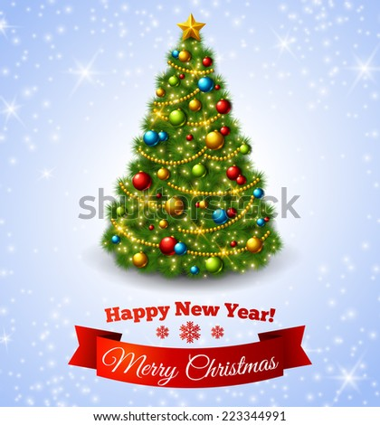 Christmas fir tree with colorful baubles and gold star. Vector illustration. New Year congratulations. - stock vector