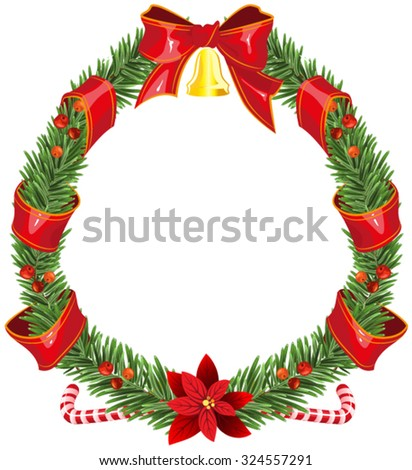 Christmas fir wreath with red ribbon and bell. Isolated illustration in vector format - stock vector