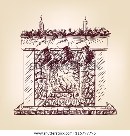 Christmas fireplace vintage hand drawn vector illustration - stock vector