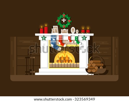 Christmas fireplace. Xmas and fire, home decoration, interior for celebration, flat vector illustration - stock vector