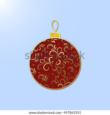 Christmas fishnet decoration: ball. Element can be used to decorate greeting cards and other Christmas decorations.