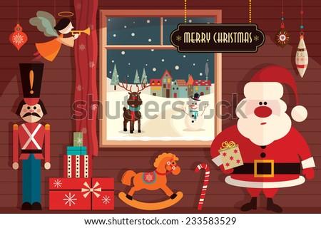 Christmas flat elements - stock vector
