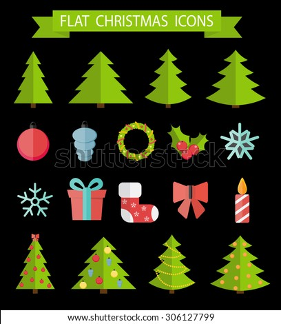 Christmas Flat Icon Set Vector Illustration EPS10 - stock vector