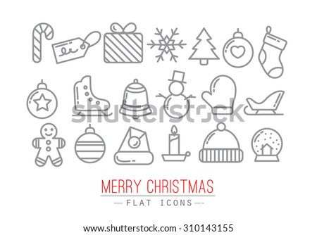 Christmas flat icons drawing with grey thin lines on white background - stock vector