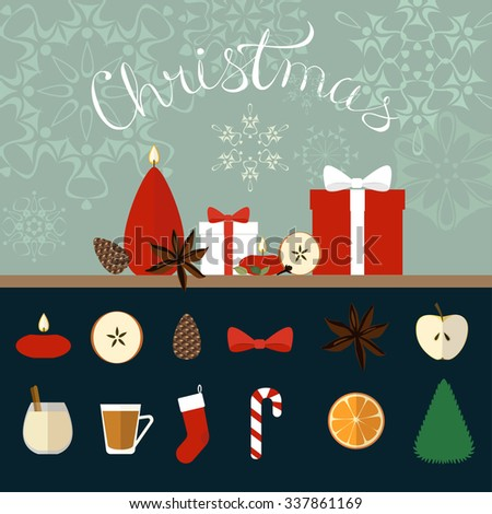 Christmas flat icons set and composition from candles, presents and spices for home decor. - stock vector