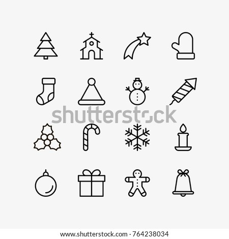 Christmas Flat Icons Set Drawing Thin Stock Vector Royalty Free