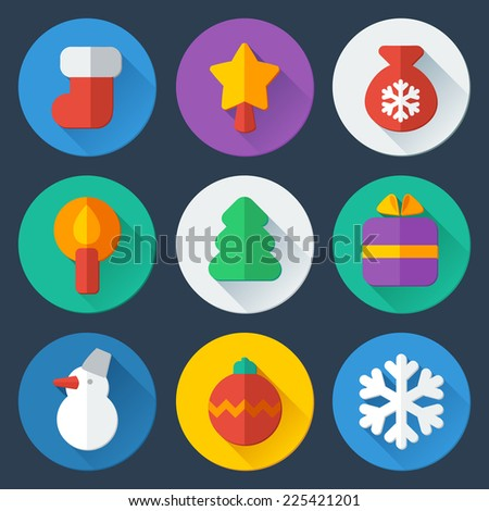 Christmas flat icons vector set - stock vector