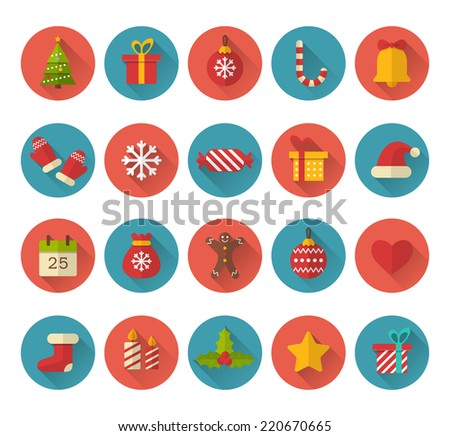 Christmas flat icons with long shadow effect - stock vector