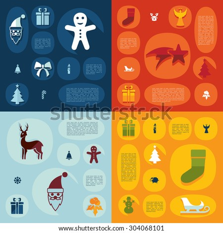 Christmas flat infographic - stock vector