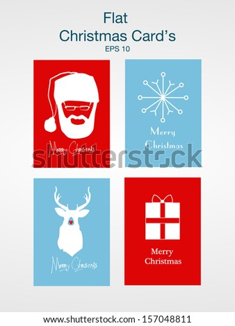 Christmas flatdesign card's. EPS 10 - stock vector