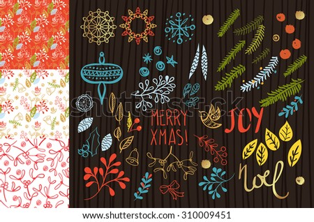 Christmas floral decoration and seamless pattern. Hand Drawn - stock vector