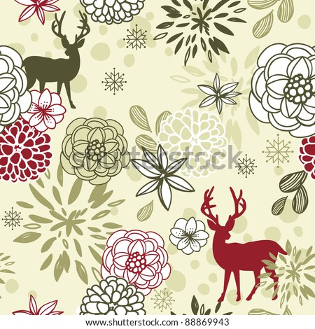 Christmas floral seamless pattern with deers and birds - stock vector