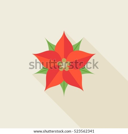 Christmas flower poinsettia flat design long stock vector 2018 christmas flower or poinsettia flat design with long shadow mightylinksfo
