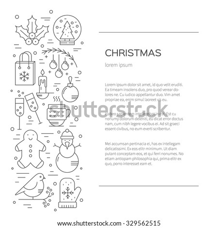 Christmas flyer made in line style vector. Christmas celebration concept - lots of new year and christmas symbols isolated on background with place or your text.  - stock vector