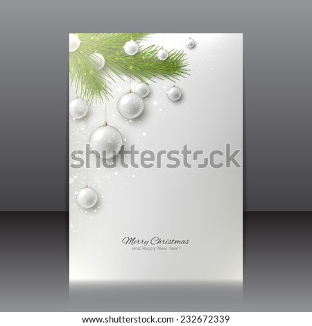 Christmas flyer with Christmas tree and Christmas toys. Vector design of Christmas flyer for your design. - stock vector