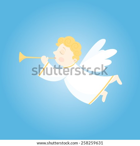Christmas Flying angel with trumpets
