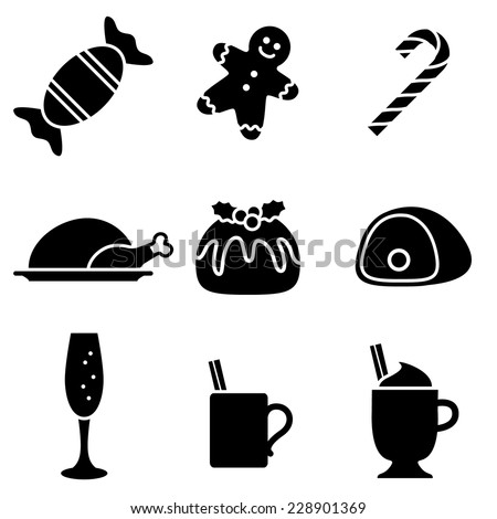 Christmas Food and Drink Icons - stock vector