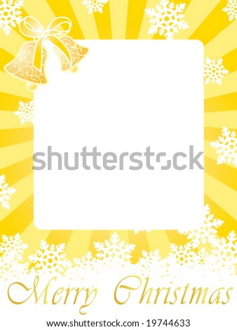 Christmas frame (card) with bells, snowflakes and greeting text on gold background with rays - stock vector